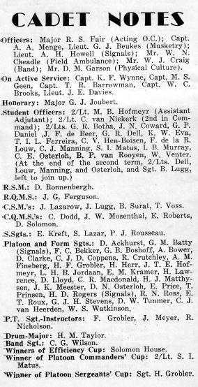 Murray Hofmeyr Cadet Notes