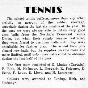 Murray Hofmeyr Tennis Notes